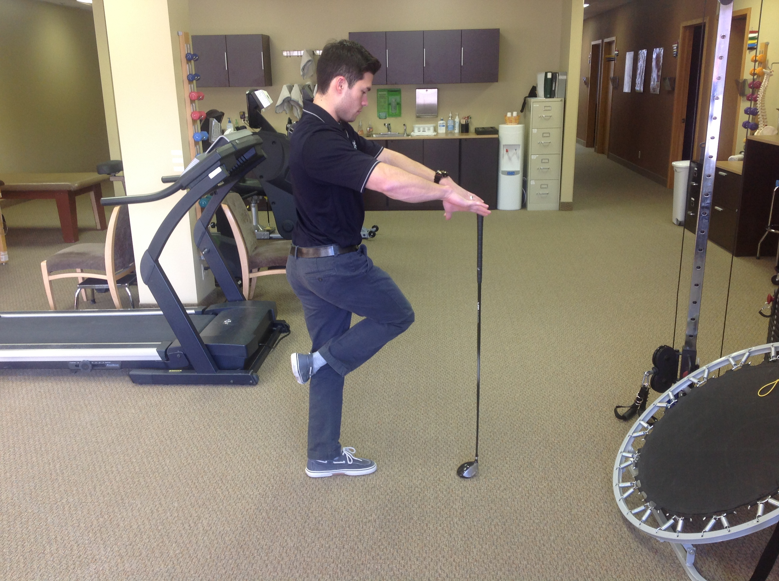 Balance drill with hip rotation to help clear hips at impact