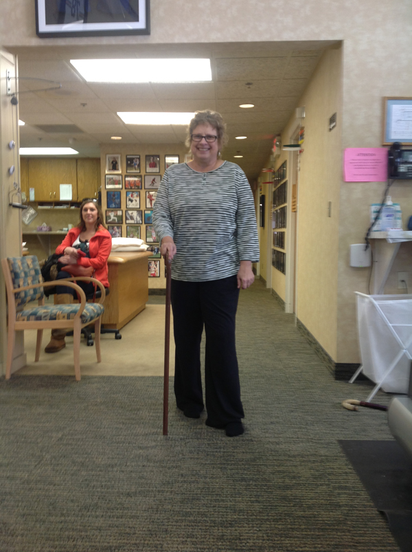 Nancy - First time walking with SEC with her new knee - SW