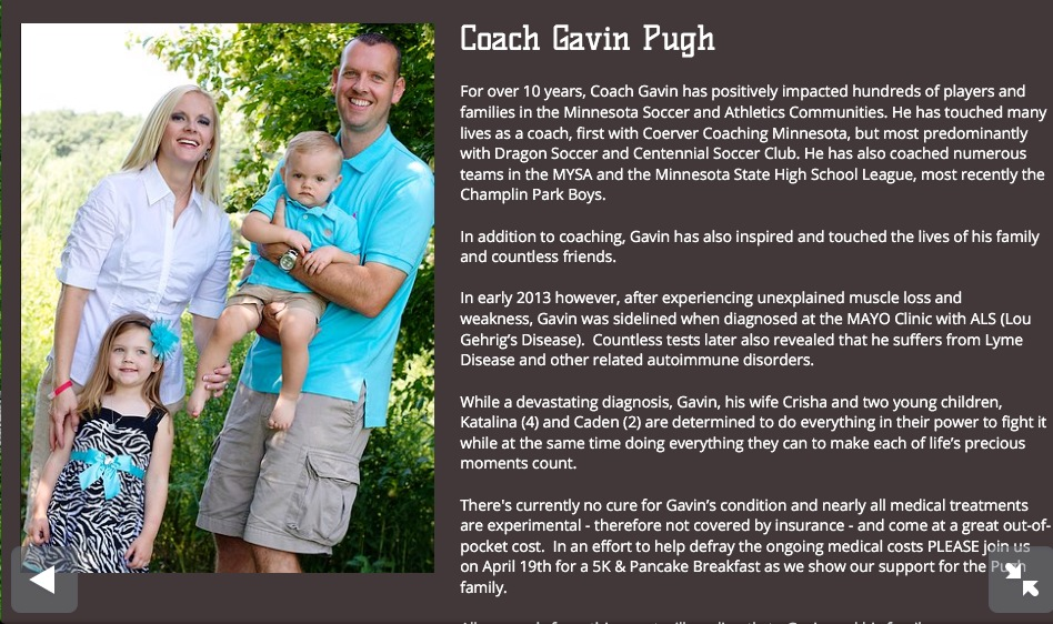 Gavin Pugh Dragon Chase Amyotrophic Lateral Sclerosis Lou Gehrig's DiseaseCentennial Soccer Club