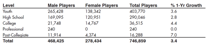 Figure 1 Total Number of Lacrosse Players in the USA