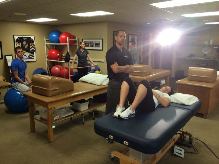 Team KSTP tv commercial shoot - OSI Physical Therapy