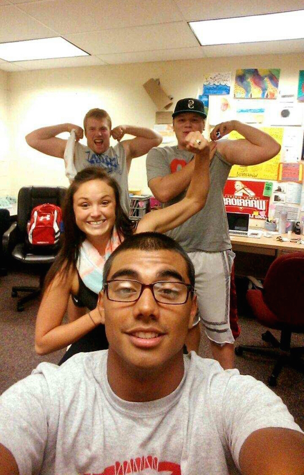Photo Bombing Bicep Flexing Pics