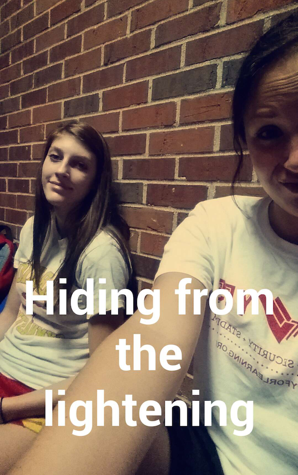 Lightening delay= hiding inside